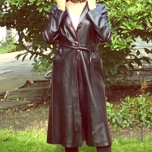 Vtg Size S black leather trench with red piping